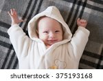 funny baby wakes up and... | Shutterstock . vector #375193168