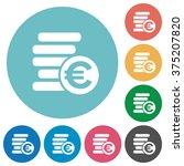 flat euro coins icon set on...
