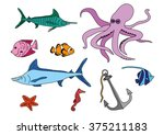 coloring book   submarine set | Shutterstock .eps vector #375211183