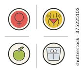 weight loss diet color icons... | Shutterstock .eps vector #375225103