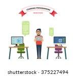 computer online school ... | Shutterstock .eps vector #375227494