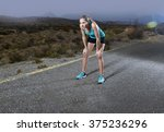 young exhausted sport woman... | Shutterstock . vector #375236296