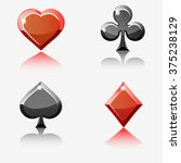 vector poker  crystal card icons | Shutterstock .eps vector #375238129