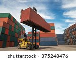 containers in the port at... | Shutterstock . vector #375248476