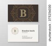business card monogram emblem... | Shutterstock .eps vector #375256030