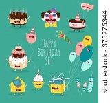 funny birthday set. birthday... | Shutterstock .eps vector #375275344