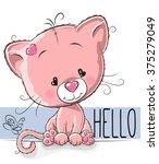 cute kitten isolated on a white ... | Shutterstock .eps vector #375279049
