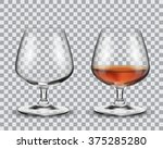 two brandy glasses  empty and... | Shutterstock .eps vector #375285280