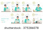 concept of one working day of... | Shutterstock .eps vector #375286078