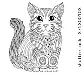 drawing zentangle cat for... | Shutterstock .eps vector #375300103