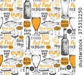 pattern with beer  cider and... | Shutterstock .eps vector #375312250