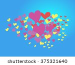 hearts on a blue background. a... | Shutterstock .eps vector #375321640