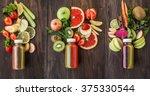 detox juices. collage | Shutterstock . vector #375330544