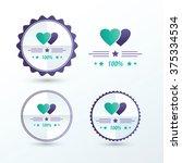 valentine labels  purple  green ... | Shutterstock .eps vector #375334534