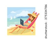 girl at the beach with laptop | Shutterstock .eps vector #375334786