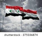 syria   yemen flags are waving... | Shutterstock . vector #375336874