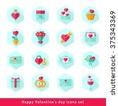 happy valentine day icons set... | Shutterstock .eps vector #375343369