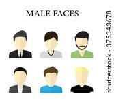 set of male faces for avatar or ... | Shutterstock .eps vector #375343678