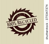 100  recycled grunge style stamp | Shutterstock .eps vector #375347374