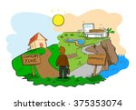 taking risk  about choosing... | Shutterstock .eps vector #375353074