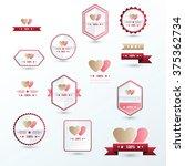 label valentine's day set brown ... | Shutterstock .eps vector #375362734