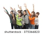 a group of young people looking ... | Shutterstock . vector #375366823