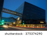 library building on the harbor... | Shutterstock . vector #375374290