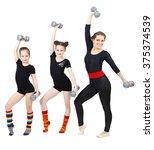slim female fitness instructor... | Shutterstock . vector #375374539