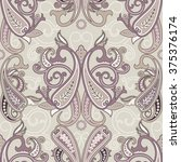 seamless pattern with paisley.... | Shutterstock .eps vector #375376174