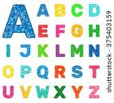 multicolor shiny alphabet.... | Shutterstock .eps vector #375403159