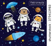 set of cute animal astronauts ... | Shutterstock .eps vector #375413983