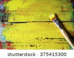 photo of paint brushes on... | Shutterstock . vector #375415300