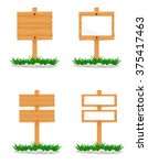 wooden signs vector illustration | Shutterstock .eps vector #375417463