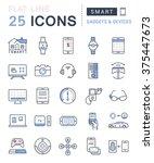 set vector line icons in flat... | Shutterstock .eps vector #375447673