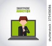 smartphone addiction design  | Shutterstock .eps vector #375458086