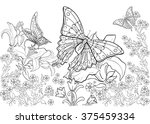 hand drawn ink pattern.... | Shutterstock .eps vector #375459334