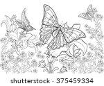hand drawn ink pattern.... | Shutterstock .eps vector #375459334