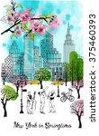 new york in springtime.... | Shutterstock .eps vector #375460393