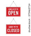 vector open and closed store... | Shutterstock .eps vector #375463714