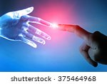 artificial robot hand touch... | Shutterstock . vector #375464968