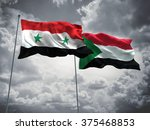 syria   sudan flags are waving... | Shutterstock . vector #375468853
