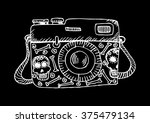 retro camera with skull and... | Shutterstock .eps vector #375479134