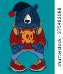 cool bear character vector... | Shutterstock .eps vector #375483088
