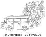hand drawn doodle outline retro ... | Shutterstock .eps vector #375490108
