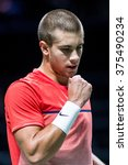 Small photo of NETHERLANDS, ROTTERDAM - February 10th 2016: at the Sportpaleis Ahoy during the ATP World Tour indoor tennis tournament ABN AMRO WTT , Borna Coric
