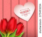 heart shaped frame  flowers and ... | Shutterstock .eps vector #375493354