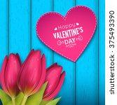 heart shaped frame  flowers and ... | Shutterstock .eps vector #375493390