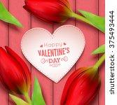 heart shaped frame  flowers and ... | Shutterstock .eps vector #375493444