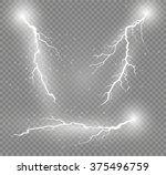 thunder storm and lightnings.... | Shutterstock .eps vector #375496759
