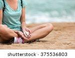 female traveler relaxing on... | Shutterstock . vector #375536803